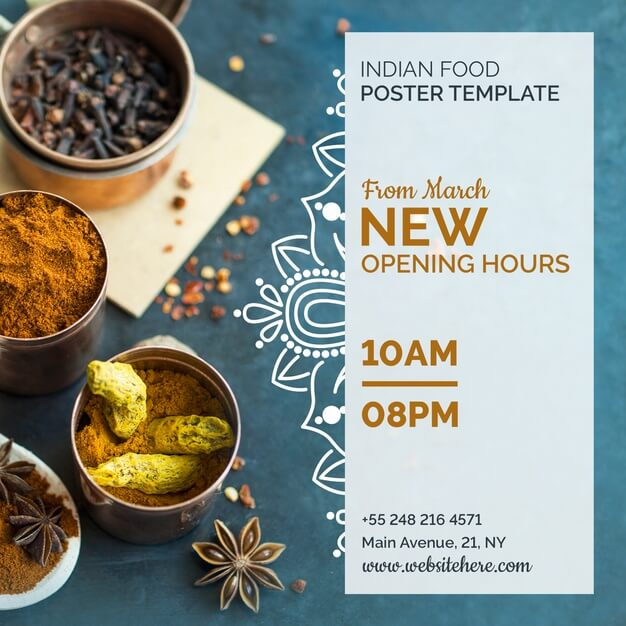 Modern indian food poster template Free Psd (1)