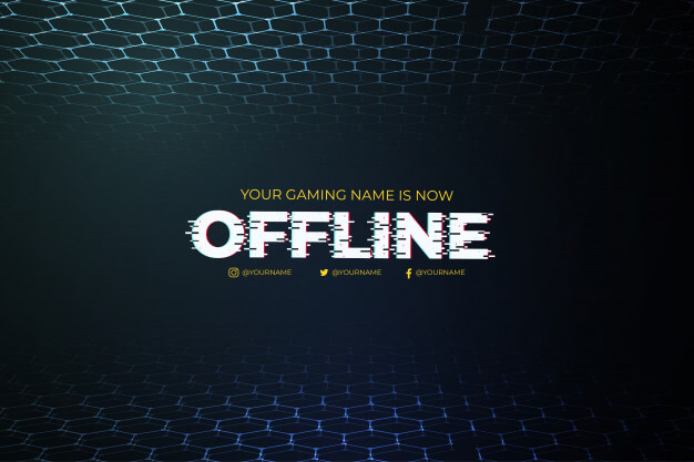 Modern offline twitch background with abstract 3d background template Free Vector