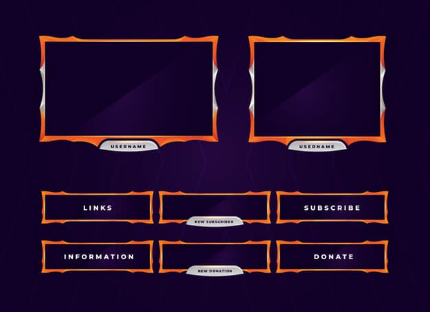 Modern orange twitch gaming panel overlay Premium Vector