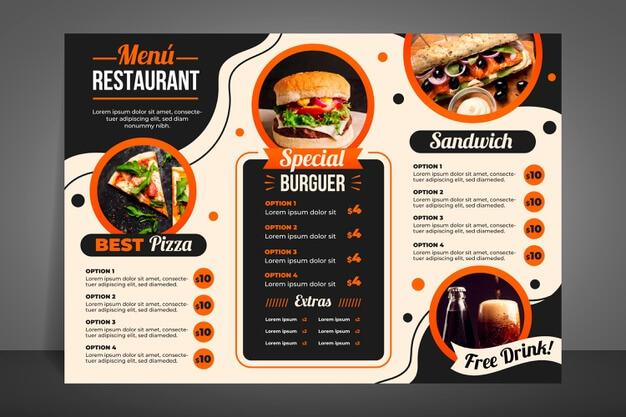 Modern restaurant menu for burgers Free Vector (1)