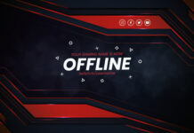 Modern twitch banner template Free Vector
