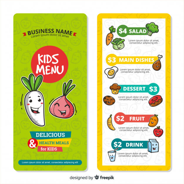 Nice kids menu template Free Vector