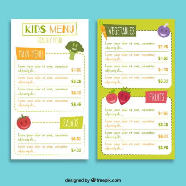 Nice kids menu with fruits Free Vector