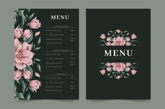 Pink flowers restaurant menu template Free Vector