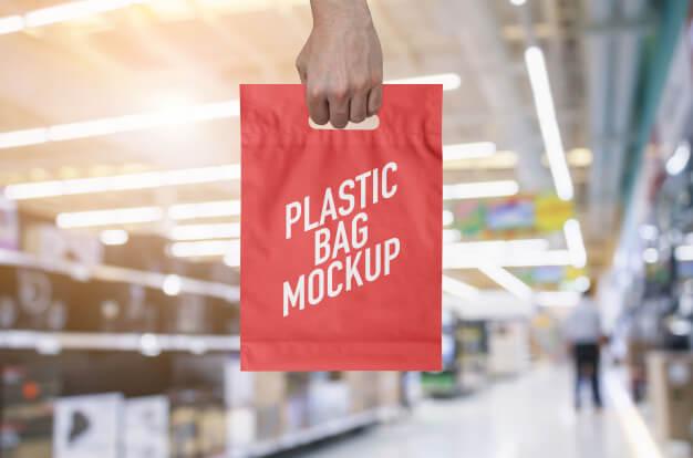 Plastic bag mockup Premium Psd