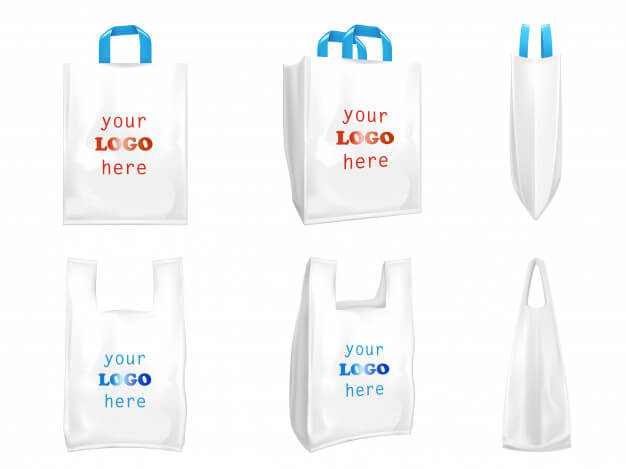 Plastic shopping bags with blue handles Premium Vector