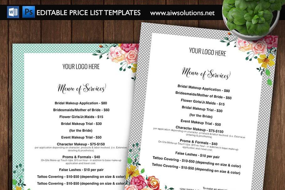 Price List, Menu List – ID04