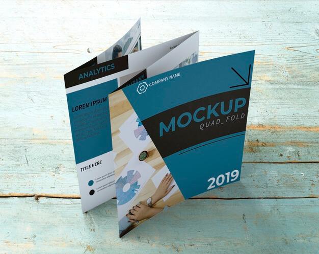 Quadfold brochure mockup Free Psd2