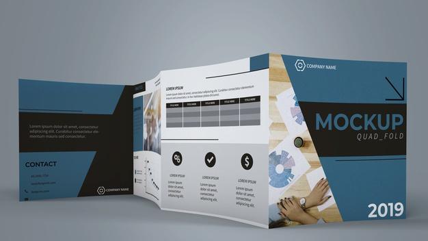 Quadfold brochure mockup Free Psd5