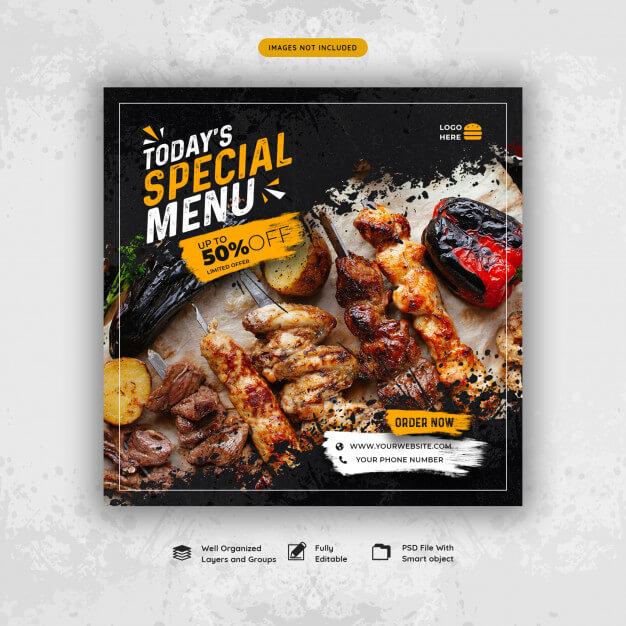 Restaurant food menu social media post Premium Psd