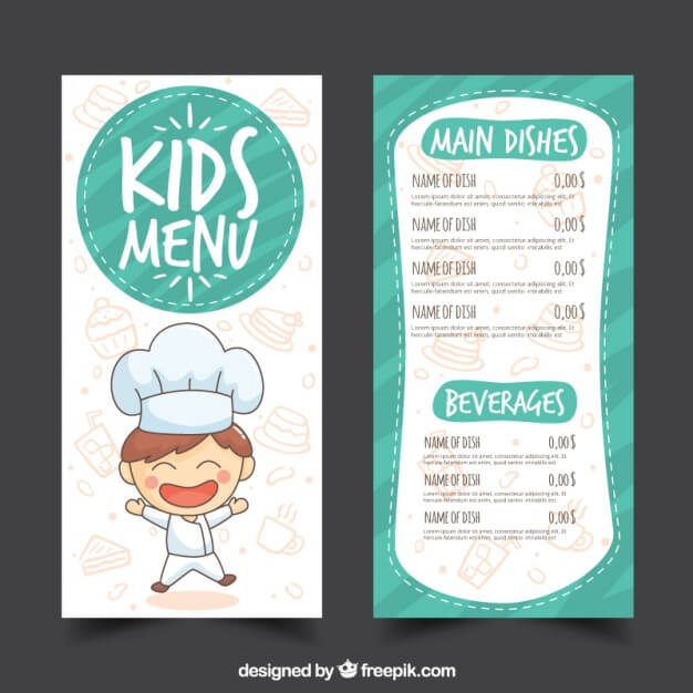 Restaurant kids' menu in hand-drawn style Free Vector