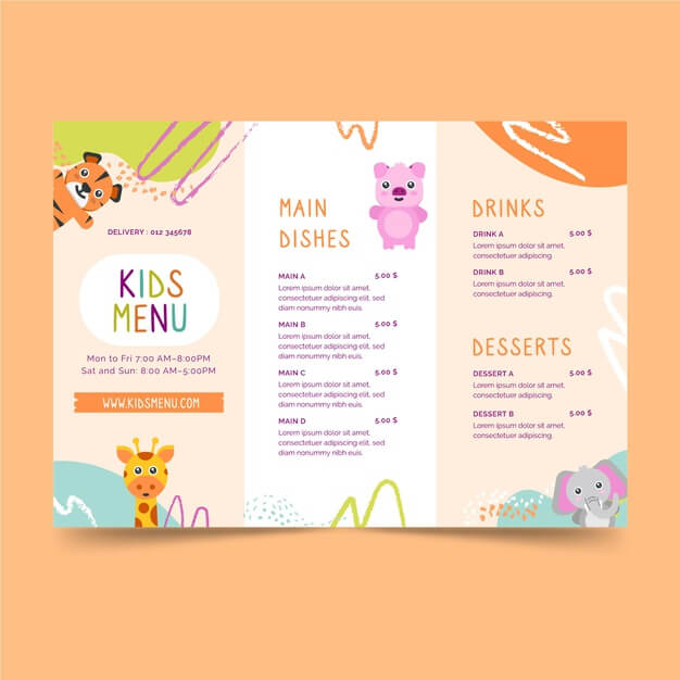 Restaurant kids menu template Free Vector