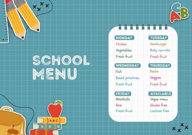 School canteen menu template Free Psd (1)
