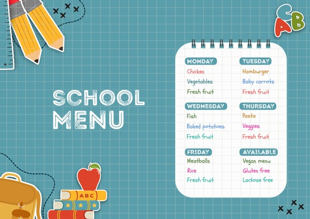 School canteen menu template Free Psd