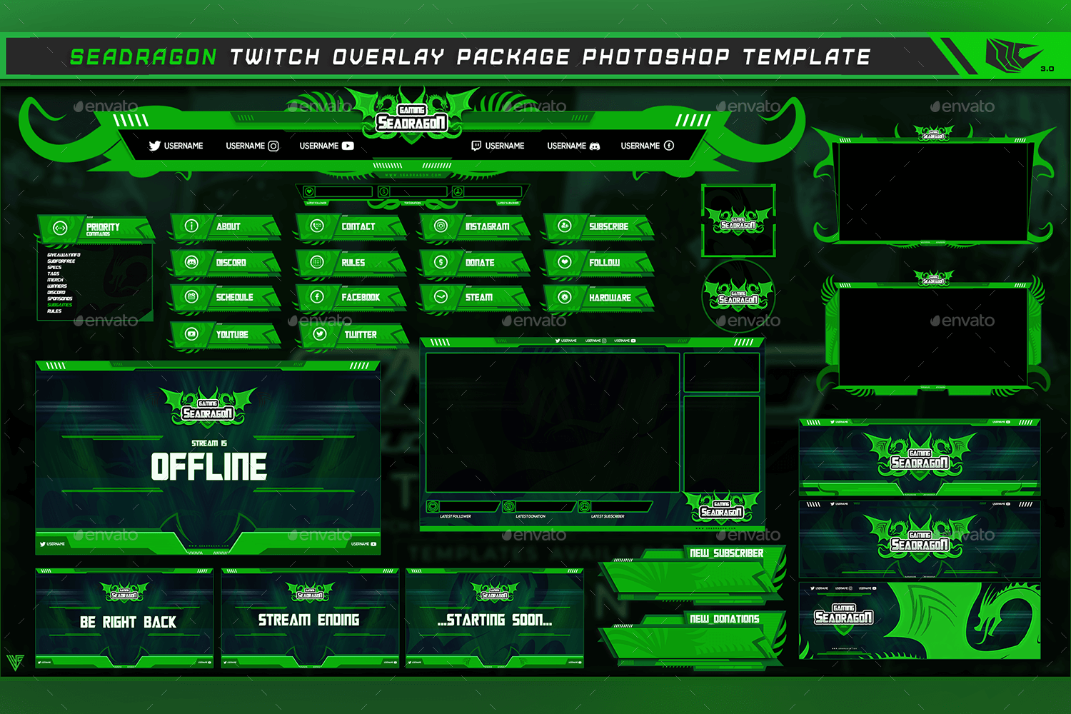 Sea Dragon Twitch Overlay Photoshop Template