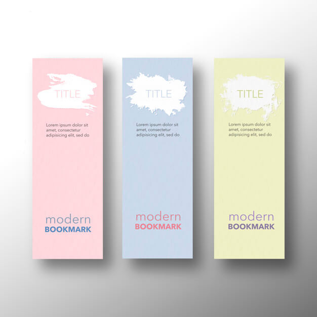 Set of modern bookmarks, yellow pink and blue Free Psd (1)