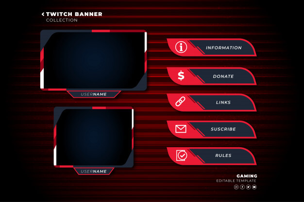 Set of twitch panels with abstract shapes template Free Vector