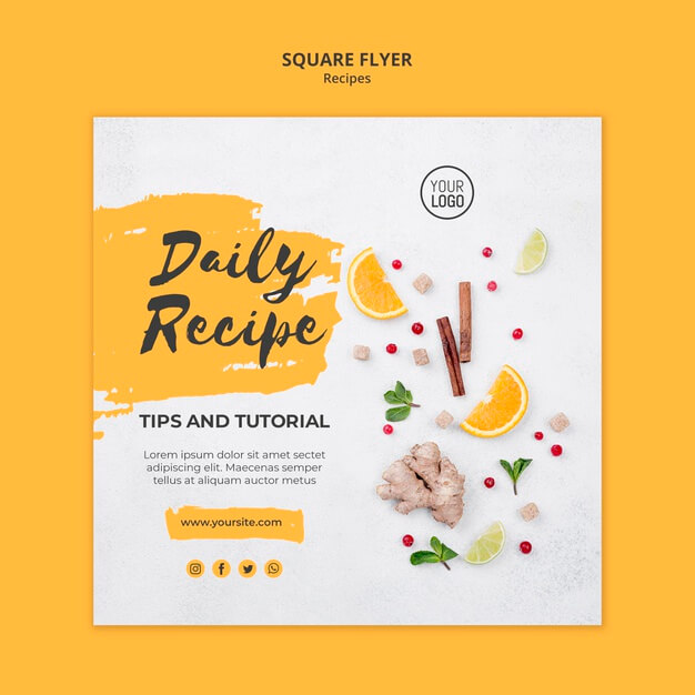Square flyer healthy recipes template Free Psd (1)