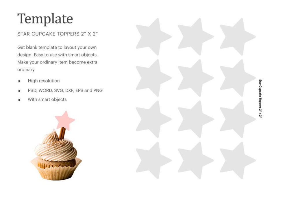Star Cupcake Toppers Template