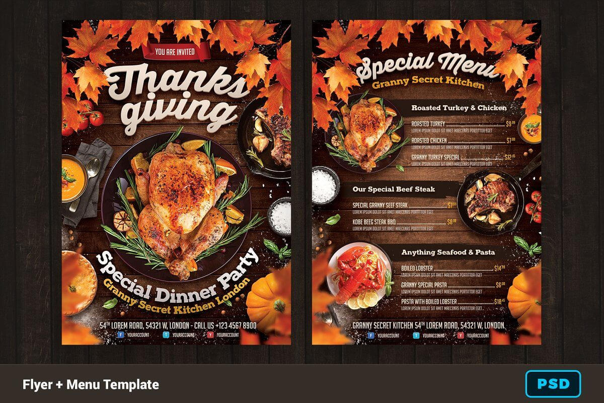 Thanksgiving Dinner Flyer + Menu (1)