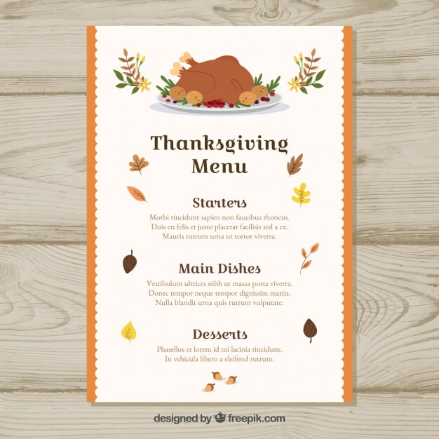 Thanksgiving retro menu Free Vector (1)