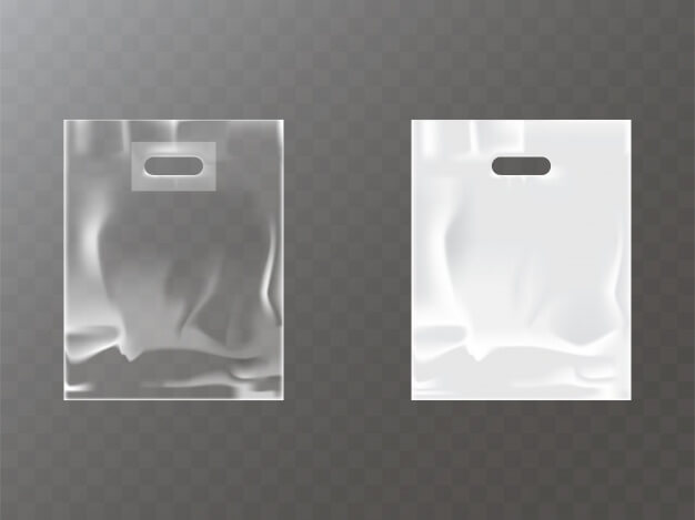 Transparent and white plastic or foil bag with hang hole Free Vector