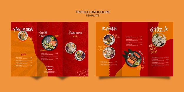 3 Folded Menu Template for asian or japan restaurant Free Psd (1)