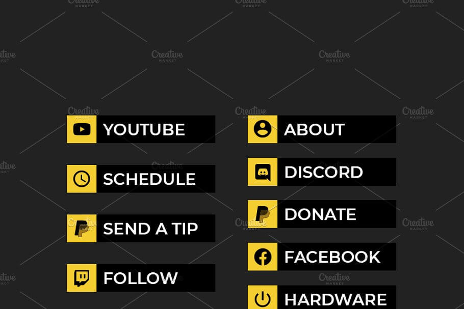 Twitch Panels - Black and Yellow
