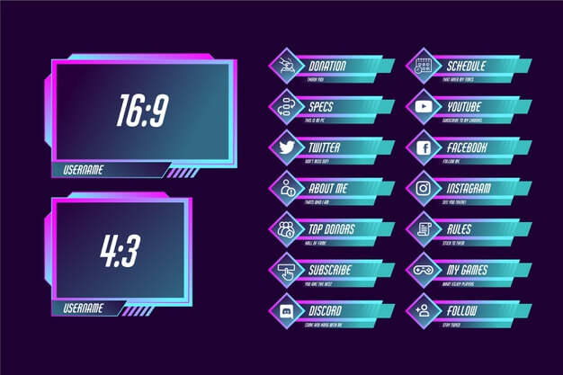 Twitch stream panels set Premium Vector