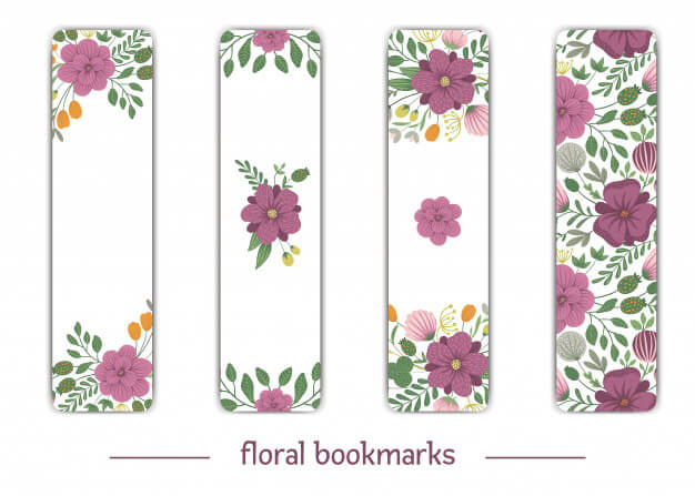 Vector bookmark templates with floral elements. flat trendy illustration with flowers, leaves, branches. meadow, woodland, forest clip art. vertical layout card templates. Premium Vector (1)