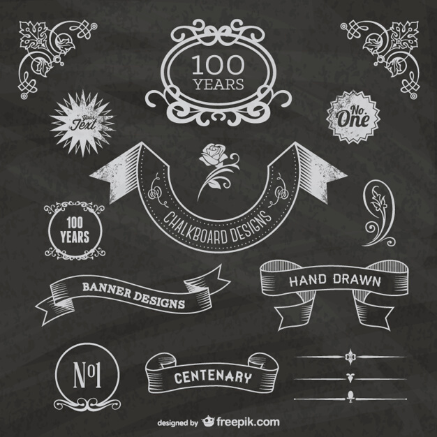 Vintage chalkboard ribbons Free Vector (1)