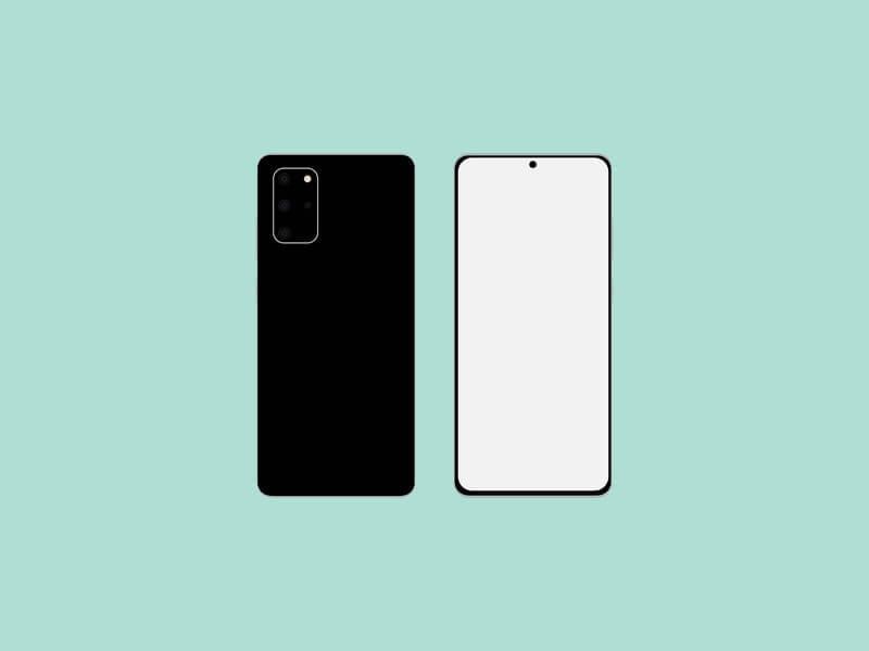 Free Flat Samsung Galaxy S20 Mockup PSD Template