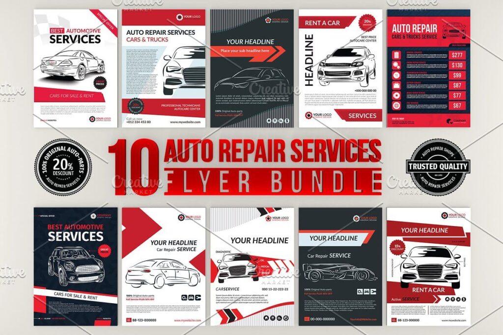 10 Auto Repair Services Flyer Bundle