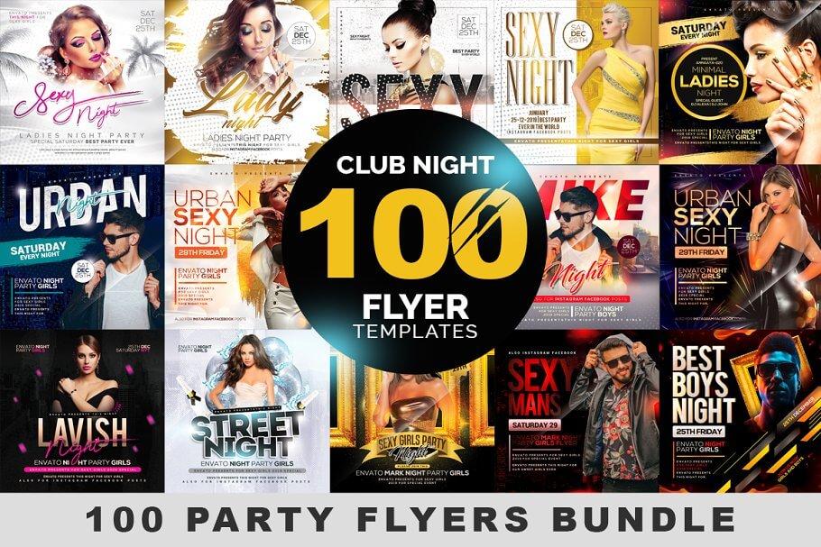 100 Night Club Party Flyers Bundle