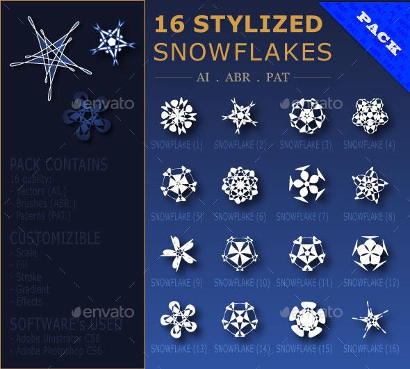 16 Stylized Snowflakes Pack (AI . ABR . PAT)