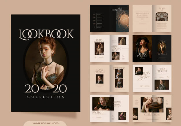 16 pages of fashion lookbook template Premium Vector