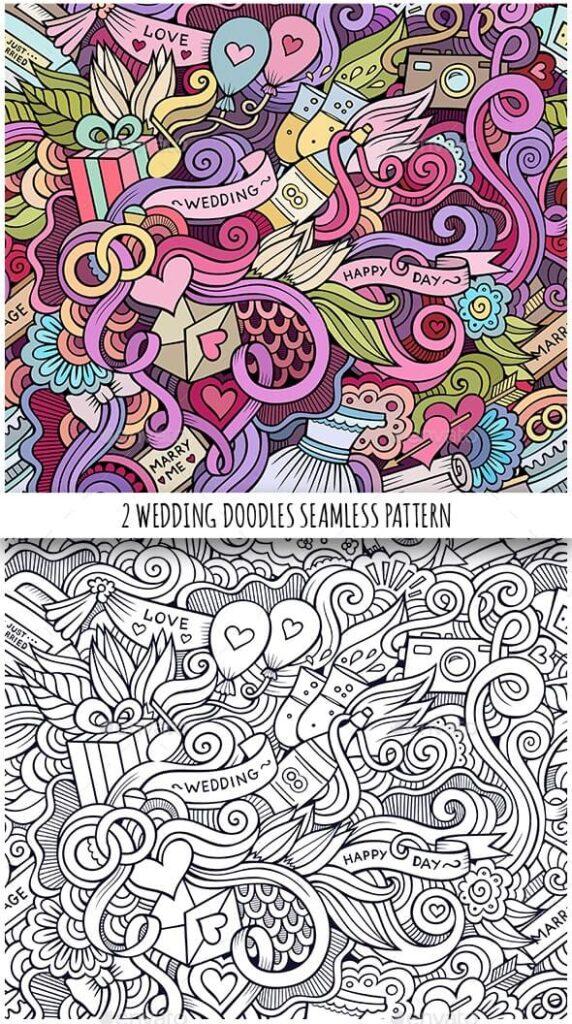 2 Wedding Doodles Seamless Patterns