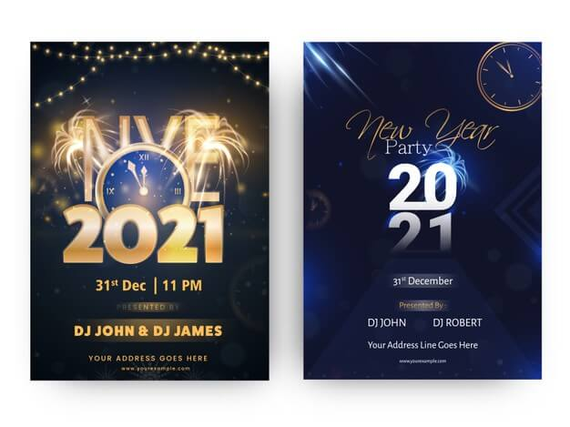 2021 nye party flyer or template design in blue and black color options Premium Vector