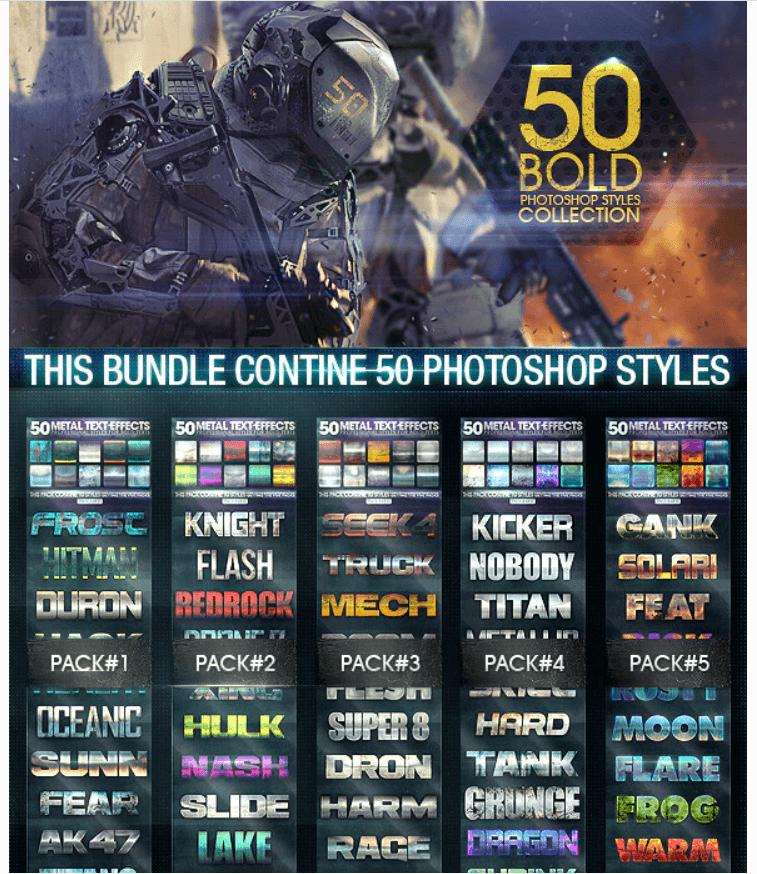 50 Metal Text Effects [Bundle V2]