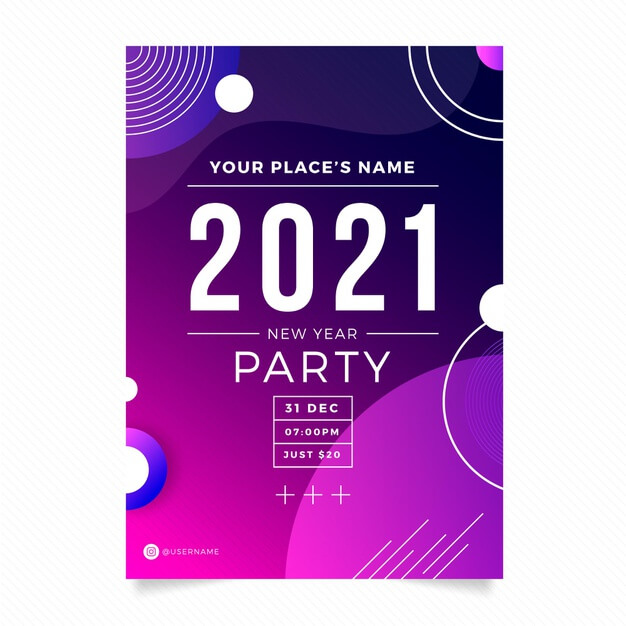 Abstract typographic new year 2021 party flyer template Free Vector1