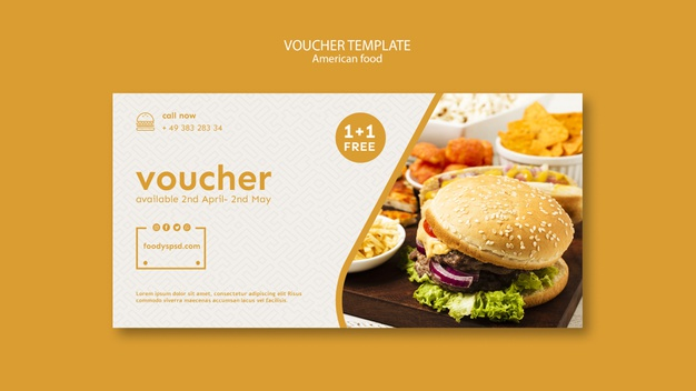 American food voucher template Free Psd