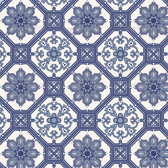 Arabesque Seamless Pattern in Blue and Grey1