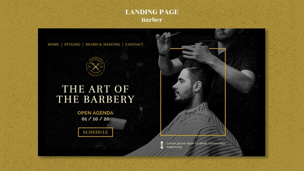 Barber shop landing page template Free Psd