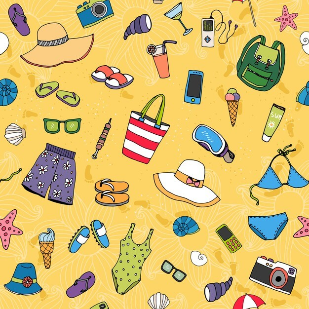 Beach seamless vector pattern with scattered summer icons