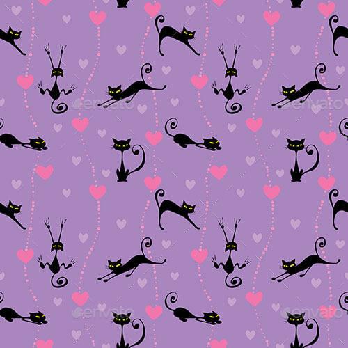 Black Cats Seamless Patterns Set