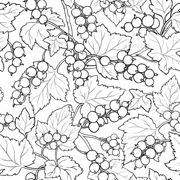 Black Currant Seamless Pattern