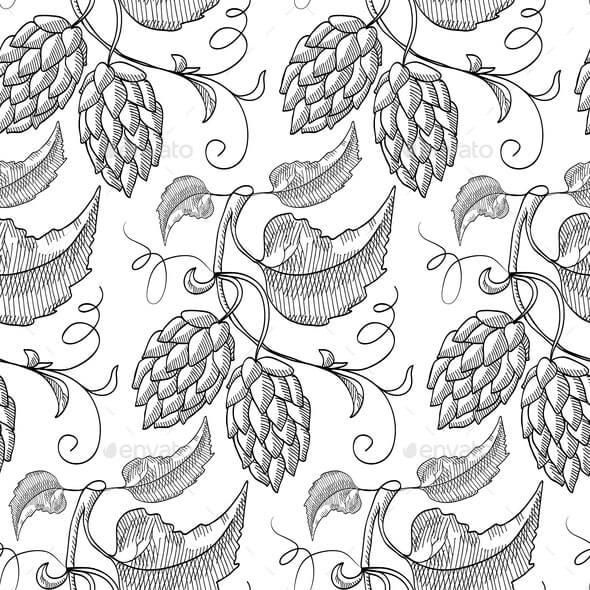 Black Hand Drawn Beer Hop Seamless Pattern