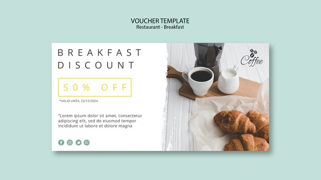 Breakfast restaurant voucher template Free Psd