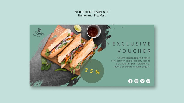 Breakfast restaurant voucher template with special offer Free Psd