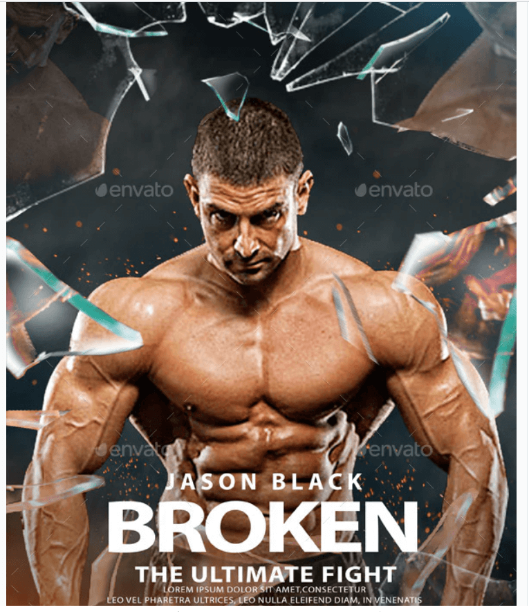 Broken Glass Action Movie Poster Template